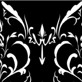 素材 大马士革花纹b(黑底白花)